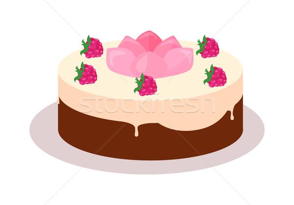Kek web afiş çikolata lezzetli Stok fotoğraf © robuart