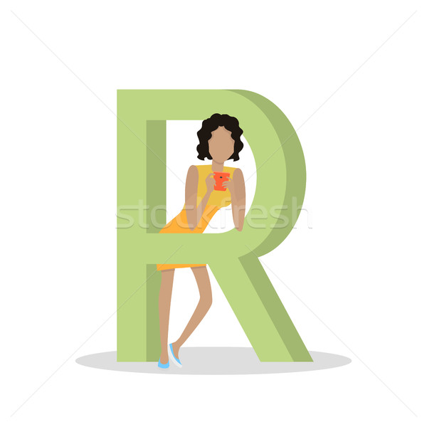 R Letter and Girl Plays on Smartphone. ABC Vector Stock photo © robuart