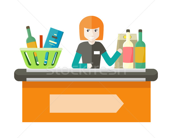 Stock photo: Cashier Behind the Store Counter Illustration.