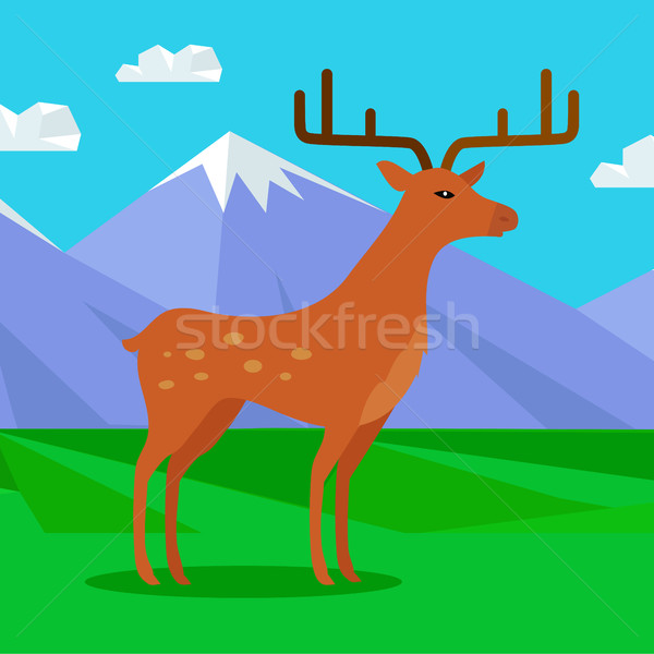 Fallow-deer in habitat Flat Design Illustration  Stock photo © robuart