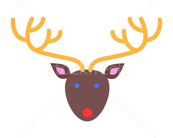 Xmas Deer. Head and Horns. Simple Cartoon Style Stock photo © robuart