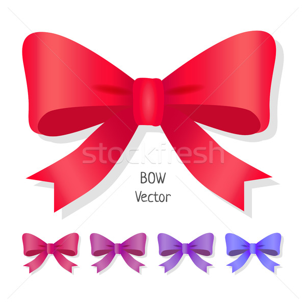Vector bow set isolated. Colors of present bows. Stock photo © robuart