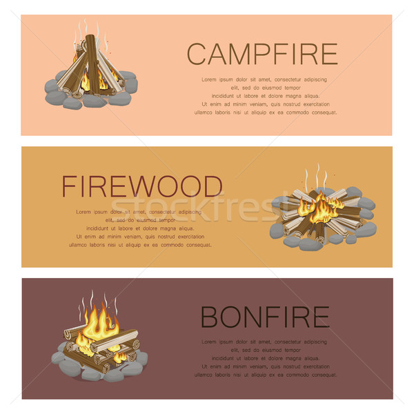 Campfire Firewood and Bonfire Colorful Poster Stock photo © robuart