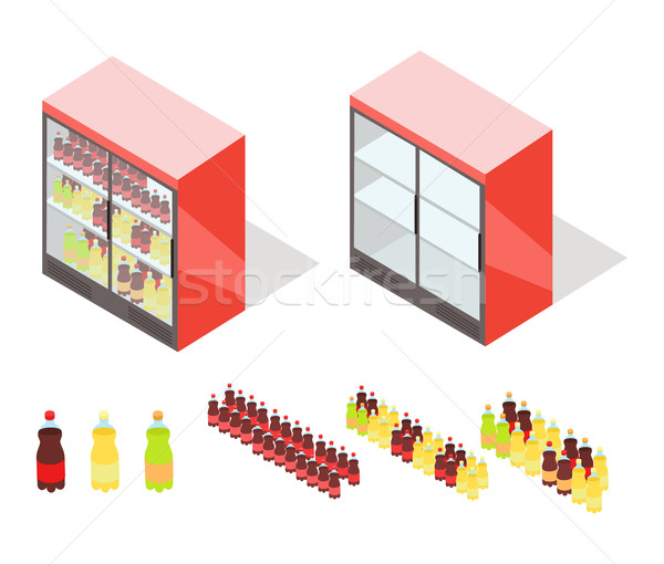Drinks in Groceries Showcase Isometric Vector Stock photo © robuart