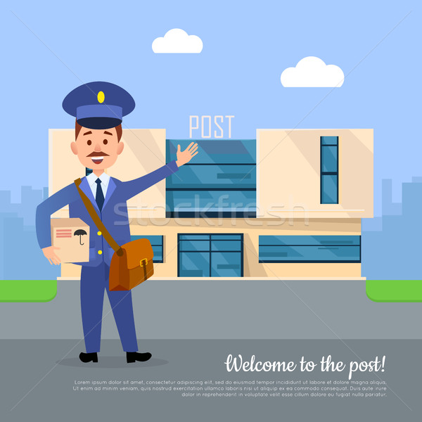 Welcome to Post Banner. Postman Pointing on Office Stock photo © robuart