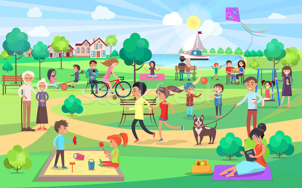 Big Green Park with People of all Ages on Nice Day Stock photo © robuart