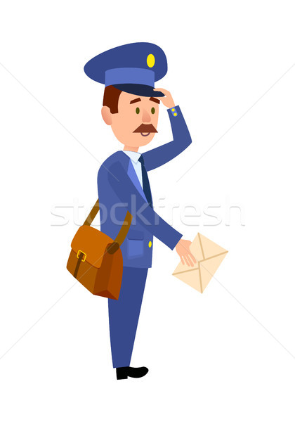 Postman Delivering Letter Isolated Cartoon Vector  Stock photo © robuart