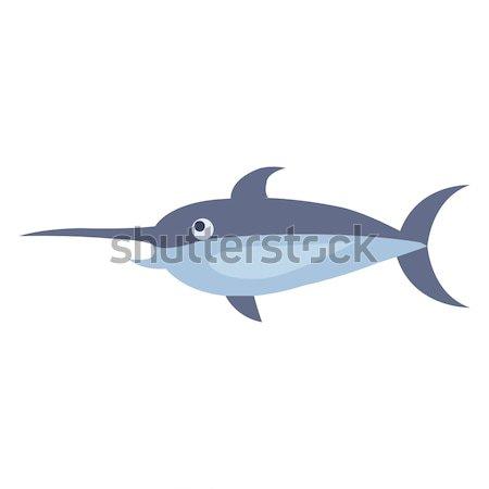 Сток-фото: Cute · рыба-меч · Cartoon · вектора · наклейку · икона