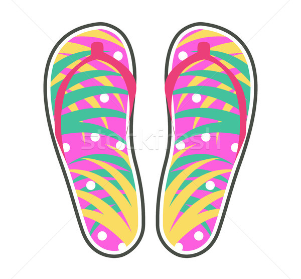 Pair of Colorful Flip-Flops Flat Vector Icon Stock photo © robuart
