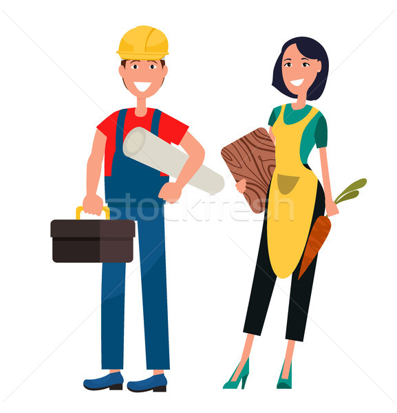 Set of Housewife and Constructor Graphic Design Stock photo © robuart