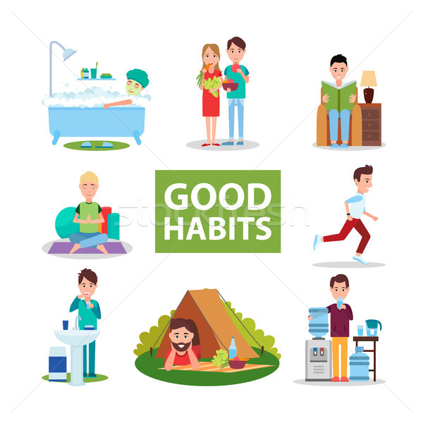 Good Habits Poster with Characters Who Do Right Stock photo © robuart