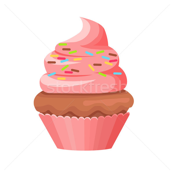 Cupcake with Chocolate Biscuit and Swirl Topping Stock photo © robuart