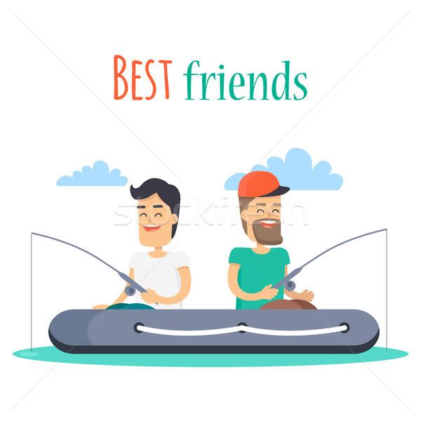Лучшие друзья рыбалки надувной лодка вектора Открытый Сток-фото © robuart