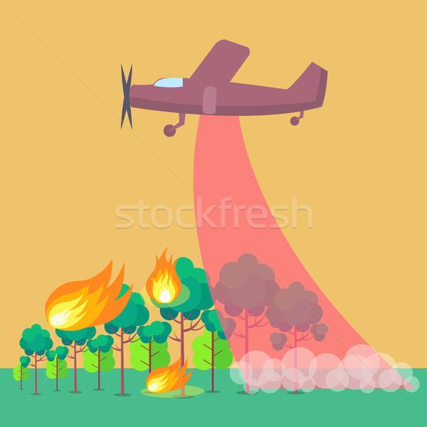 Poster vliegtuig uit bosbrand paars brandend Stockfoto © robuart