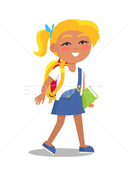 Iskolás lány egyenruha kék fehér színek szőke nő Stock fotó © robuart