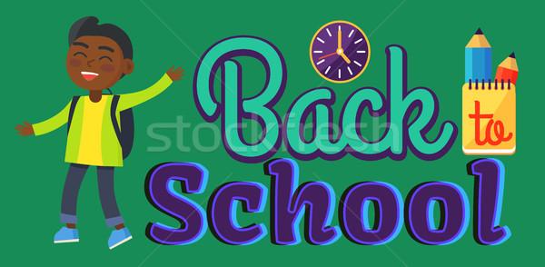 Volver a la escuela etiqueta nino indio pared Foto stock © robuart