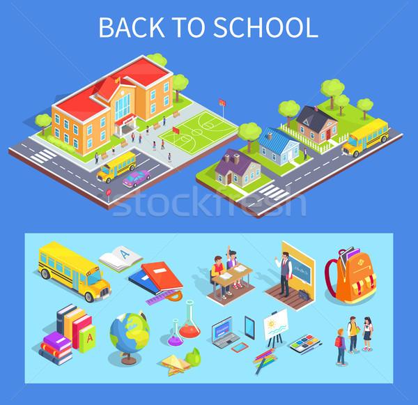 Volver a la escuela colección ilustraciones azul aislado vector Foto stock © robuart