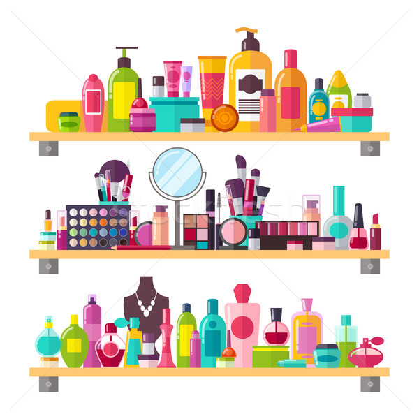 Make Up Things Icons Vector Illustration on White Stock photo © robuart