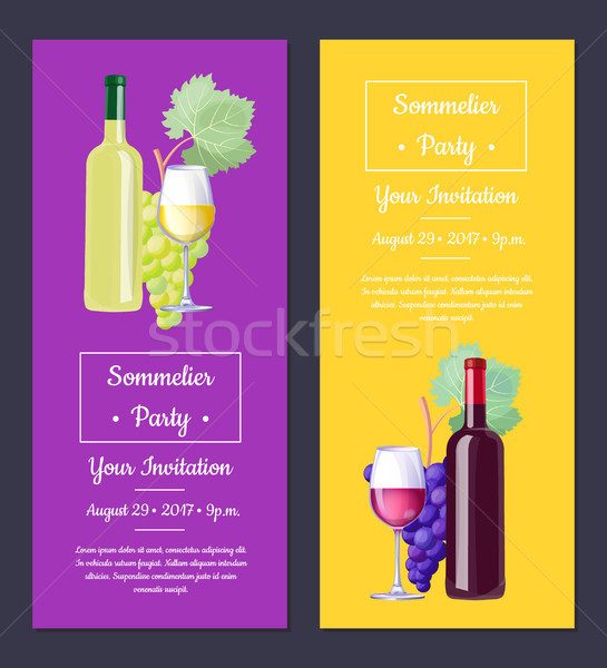 Sommelier Party Invitation on Vector Illustration Stock photo © robuart