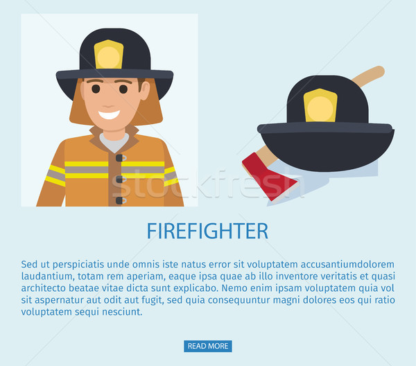Firefighter in Uniform with Wooden Axe Vector Stock photo © robuart