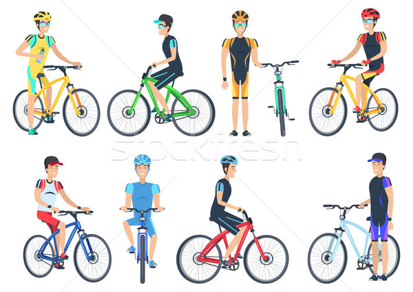 Bicyclist Riding on Bike, Standing Near Bicyclet Stock photo © robuart