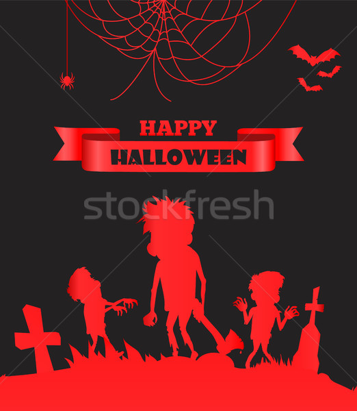 Gelukkig halloween Rood lint titel Stockfoto © robuart