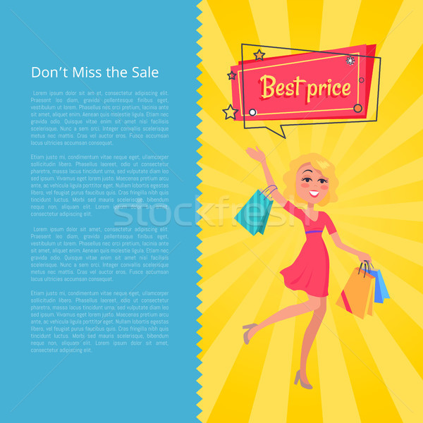Don t Miss the Sale Best Prices Poster with Woman Stock photo © robuart