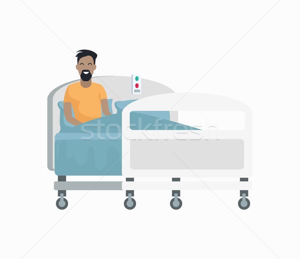Férfi beteg kórházi ágy ikon izolált fehér férfi Stock fotó © robuart