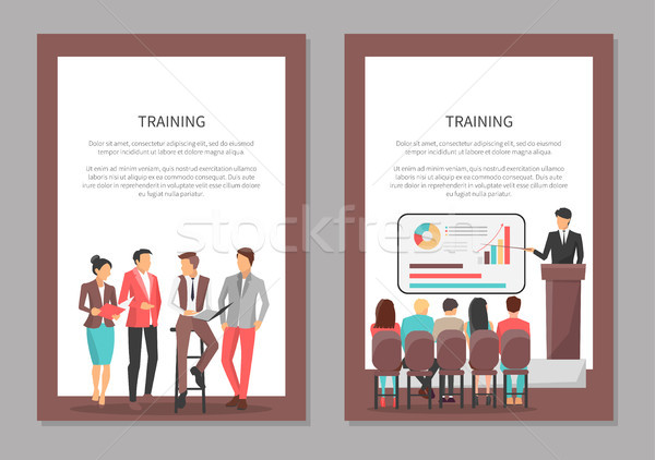 Training Posters Set with People Discussing Issues Stock photo © robuart