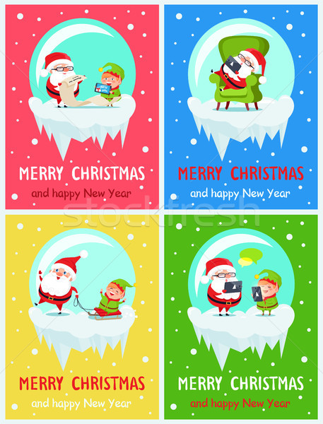 Merry Christmas Icy Banners Vector Illustration Stock photo © robuart