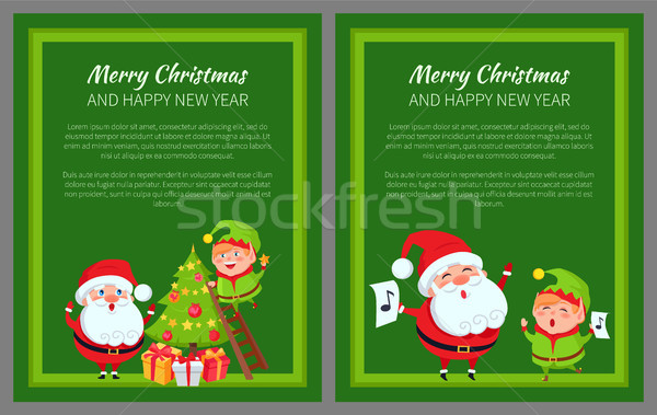 Merry Christmas New Year Poster Santa and Elf Stock photo © robuart