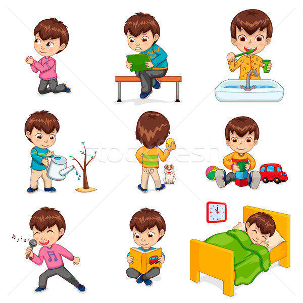Boy Does Daily Routine Actions Illustrations Set Stock photo © robuart