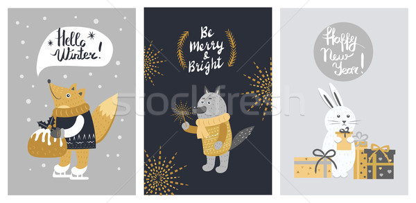 Hello Winter and Be Merry Banner with Animals Stock photo © robuart