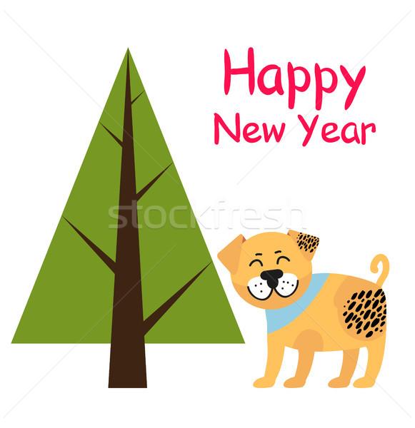 с Новым годом плакат ель дерево собака аннотация Сток-фото © robuart