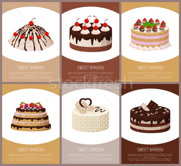 Cakes Variety Page Online Shop Vector Illustration Stock photo © robuart