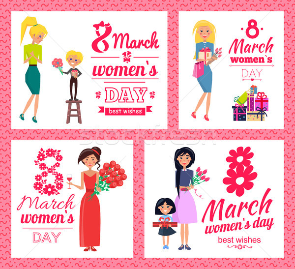 8 March Womens Day Best Wishes Vector Illustration Stock photo © robuart