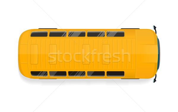 Stok fotoğraf: Otobüs · üst · görmek · ikon · sarı · okul · otobüsü