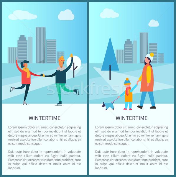 плакат счастливым пару танцы коньки Сток-фото © robuart