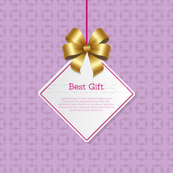Best Gift Cover Design with Golden Bow Hanging Tag Stock photo © robuart