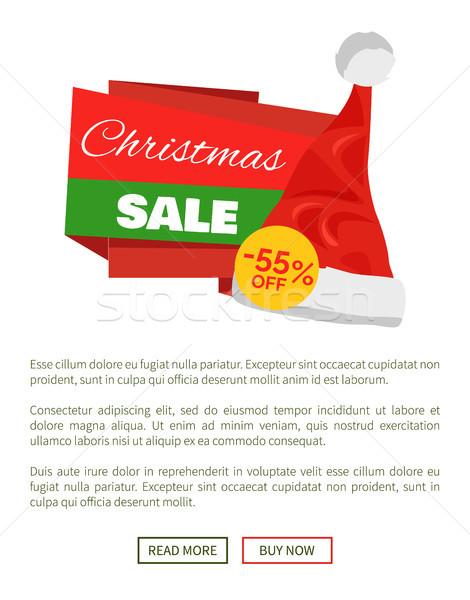 Christmas sprzedaży promo etykiety Święty mikołaj hat Zdjęcia stock © robuart