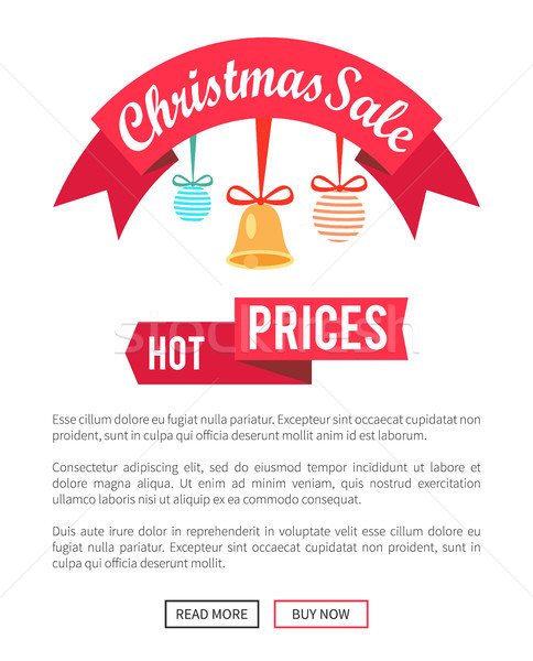 Hot Prices Christmas Sale Poster with Cute Toys Stock photo © robuart