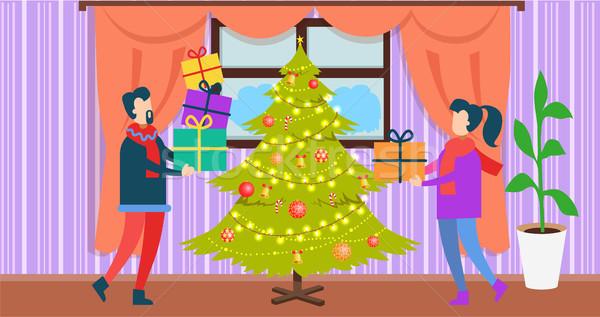 Ludzi christmas domu człowiek kobieta stałego Zdjęcia stock © robuart