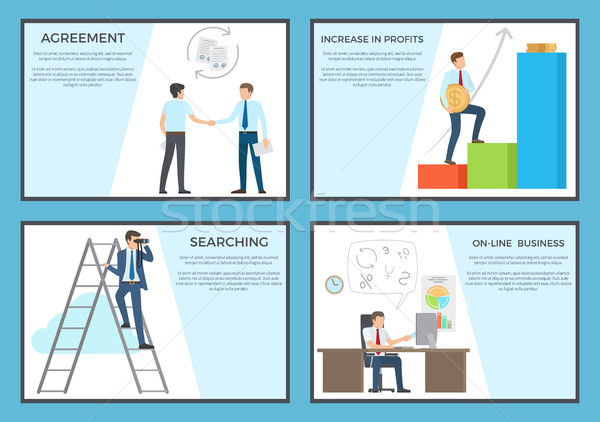 Business Set of Posters Depicting Diligent Workers Stock photo © robuart