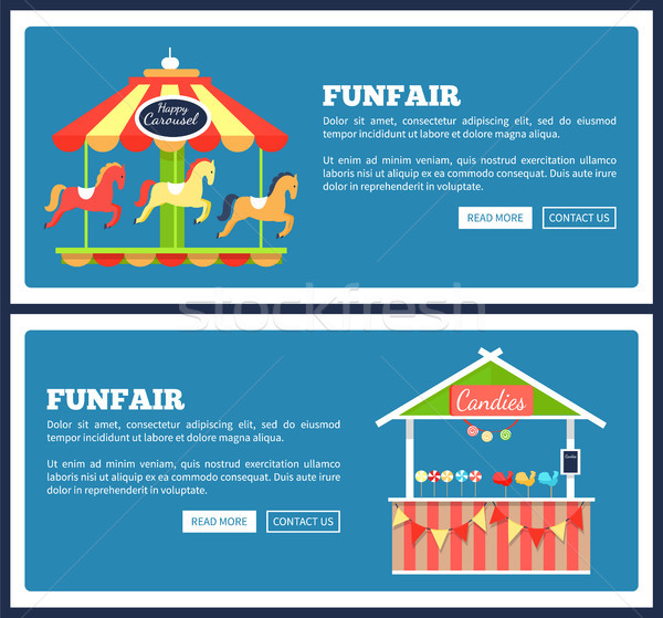 Funfair Posters with Carousels Vector Illustration Stock photo © robuart