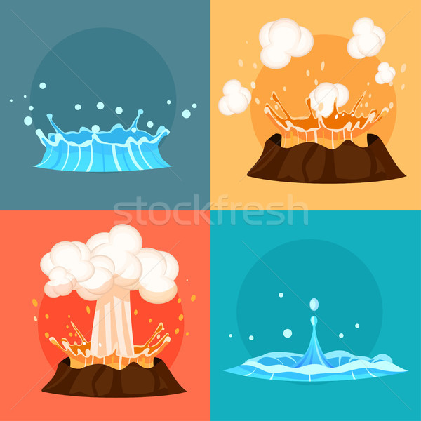 Concept of Blue Geyser and Red-hot Volcano Icons Stock photo © robuart