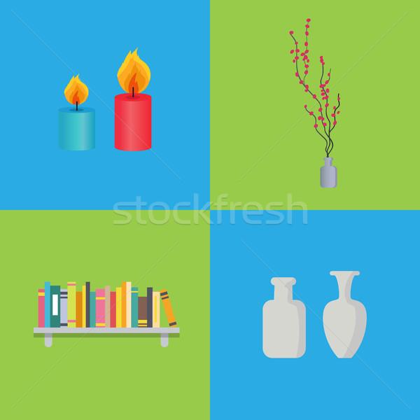 Bougies intérieur cire branche Photo stock © robuart