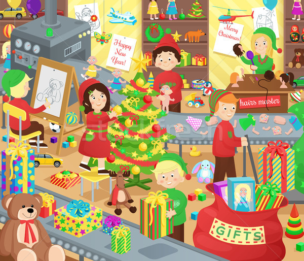 Santa Claus Presents Factory with Little Helpers Stock photo © robuart