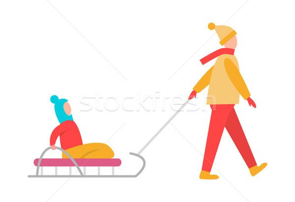 Ojciec dziecko sanki odizolowany biały Zdjęcia stock © robuart