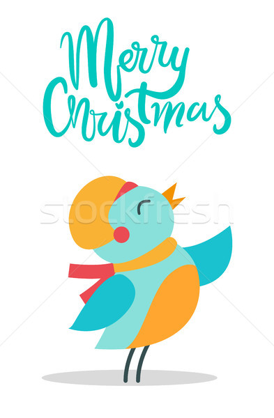 Merry Christmas Bird and Title Vector Illustration Stock photo © robuart