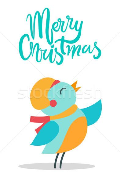 Alegre Navidad aves título anunciante hasta Foto stock © robuart